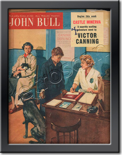 October 1954 John Bull Vet's Reception - framed vintage magazine cover