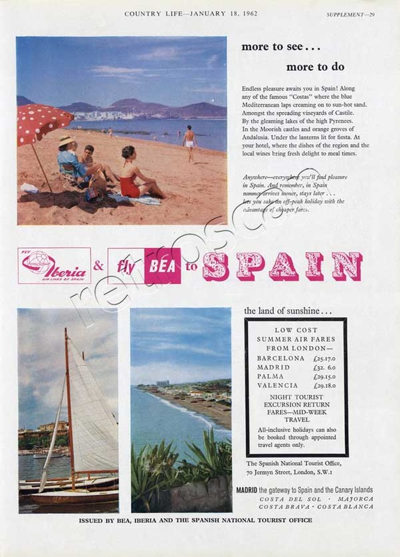 1962 BEA / Iberia Airline - Spain vintage ad