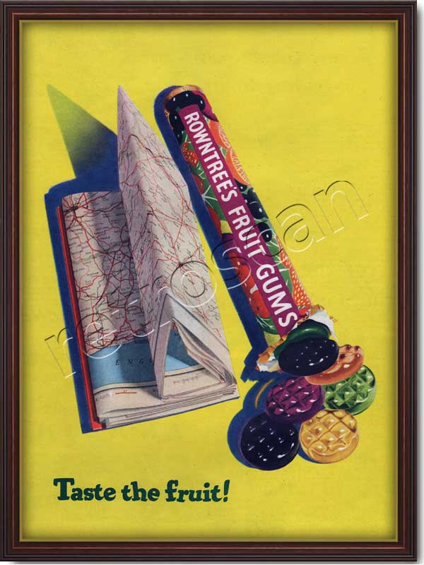 1954 Rowntree's Fruit Gums with map