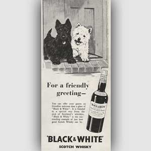 1954 Black & White Scotch Whisky Vintage Ad