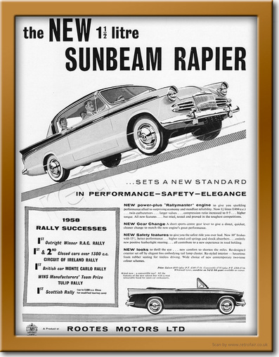 1958 Sunbeam Rapier - framed preview retro