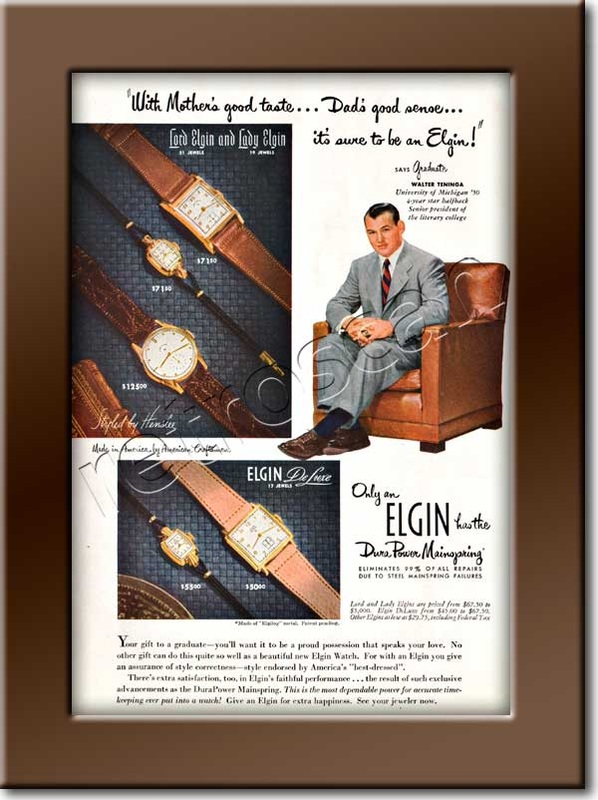 1950 Elgin Watches  - framed preview - vintage ad