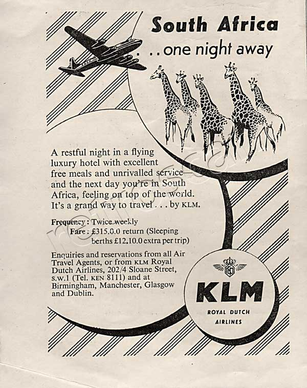 1950 KLM Air Line - unfarmed - vintage