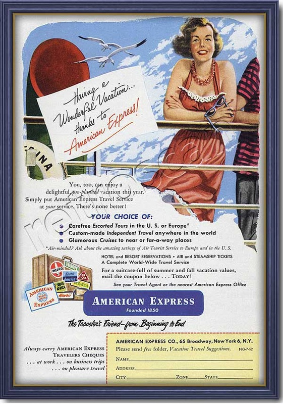 vintage 1952 American Express advert