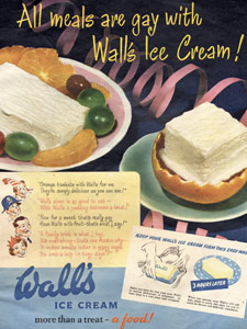 1950 Wall's Ice Cream table top - vintage ad