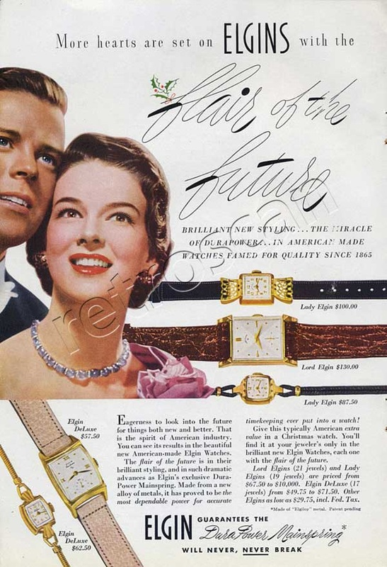 1950 Elgin Watches vintage ad