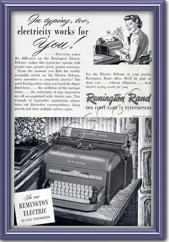 vintage 1949 Remington Rand Typewriter