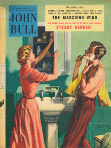 1955 October John Bull Vintage Magazine man shaving in bathroom