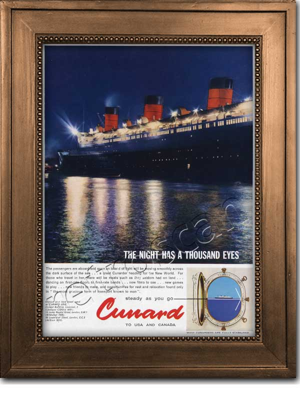 1961 Cunard Lines Nightime Cruise ship