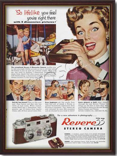 Vintage Revere 33 Stereo Camera ad