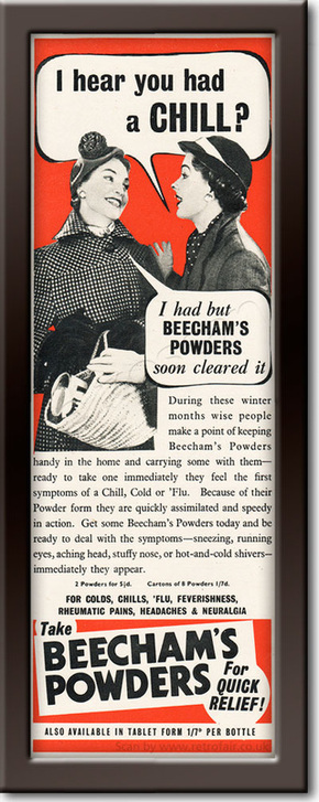 1954 Beecham's Powders - framed preview vintage ad