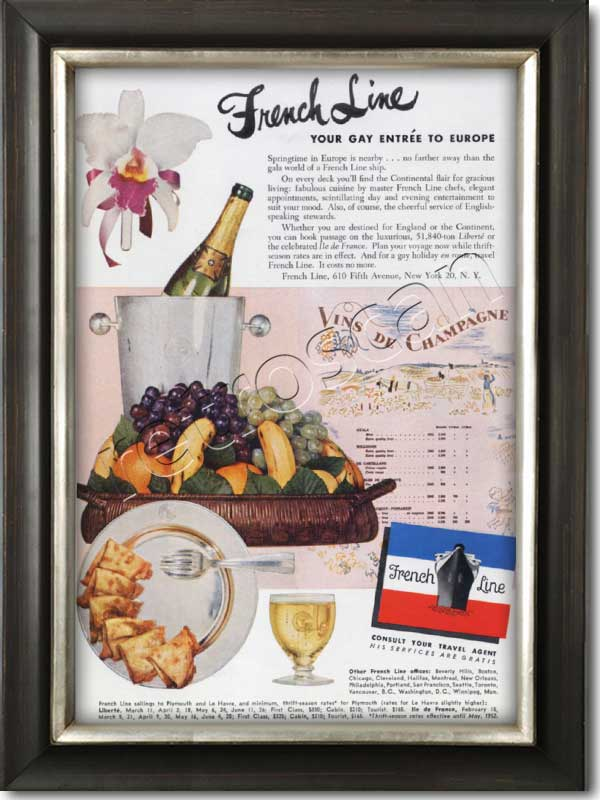1952 French Line Cruises champagne and fruit - framed preview