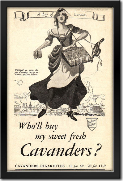 ​1936 Cavanders Cigarettes - framed preview retro