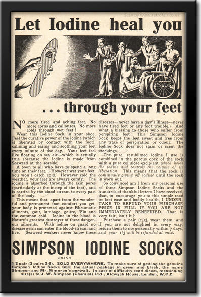 1936 Simpson Iodine Socks - framed preview retro