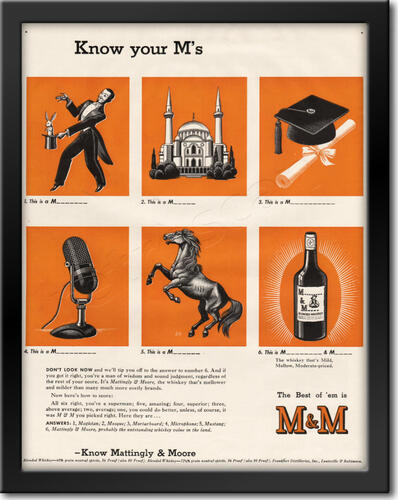 1942 Mattingly & Moore Whisky - framed preview retro