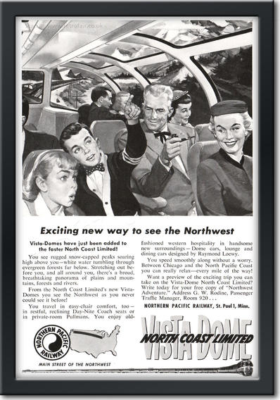 1954 Northern Pacific Railroad - framed preview retro