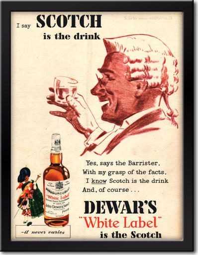 1955 Dewar's White Label Scotch - framed preview retro