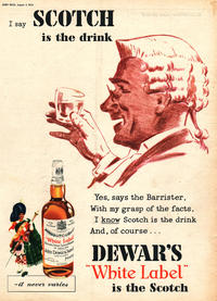 1955 Dewar's White Label Scotch - unframed vintage ad