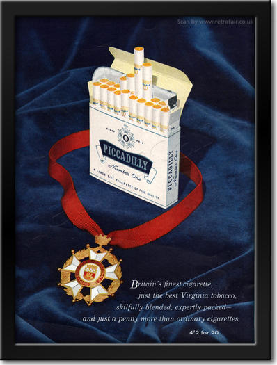 1960 Piccadilly Cigarettes - framed preview retro
