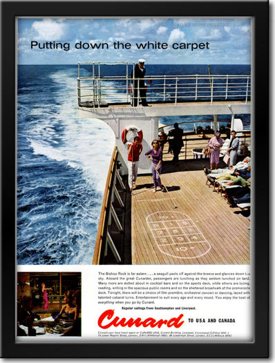 1961 Cunard Cruise Line - framed preview retro