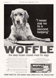 1964 Woffle Dog Food - unframed vintage ad