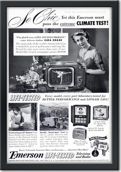 1951 Emerson Television and Radio - framed preview retro