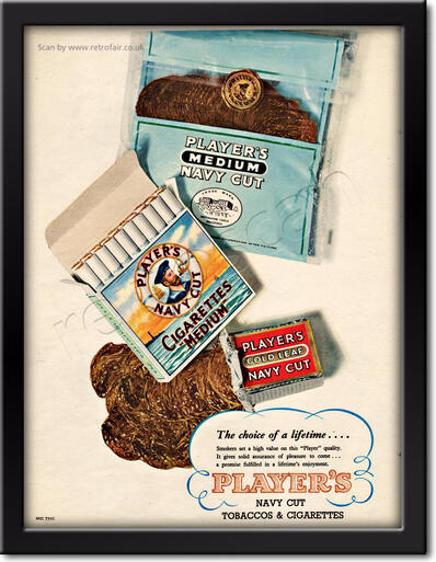Players Navy Cut Cigarettes & Tobacco vintage ad