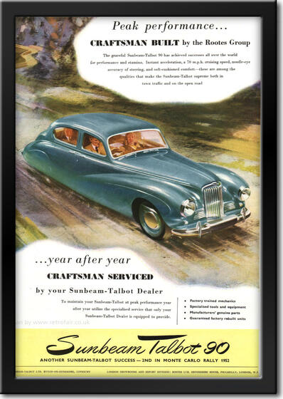 1952 vintage Sunbeam Talbot 90 advert