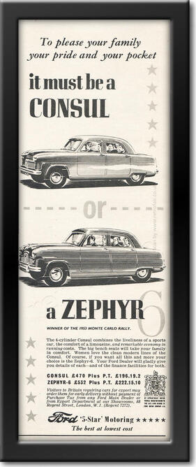 1953 vintage Ford Consul & Zephyr  advert