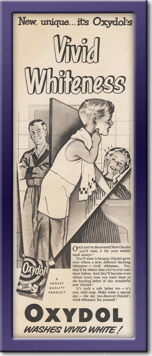1953 Oxydol Washing Powder - framed preview vintage ad