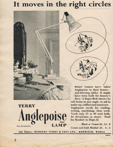 1954 Terry Anglepoise Lamp  - unframed vintage ad
