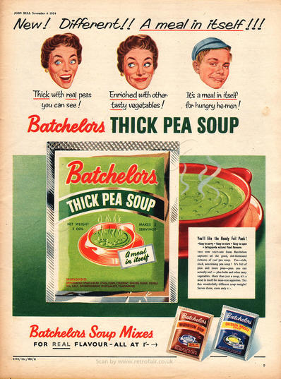 1954 Batchelor's Thick Pea Soup - unframed vintage ad