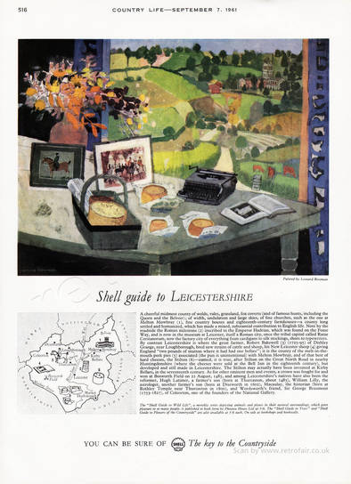 1961 Shell Guide To Leicestershire - unframed vintage ad